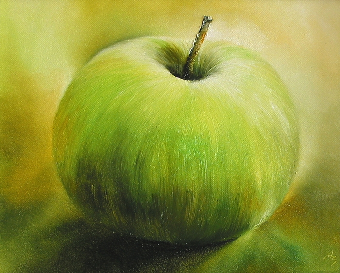 painting of a green apple