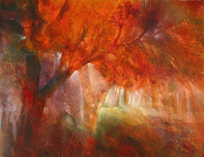 painting of an autumnal forest