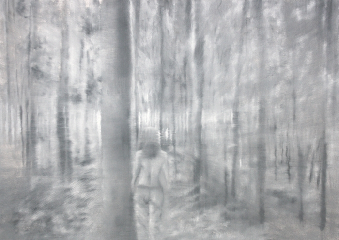 painting of a woman in a wood
