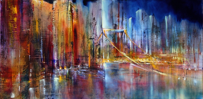 painting of an abstract city