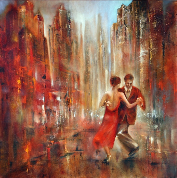 painting of two dancing persons